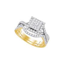 14K Yellow Gold Halo Infinity Diamond Bridal Engagement Wedding Ring Set 7/8CT - $1,399.00