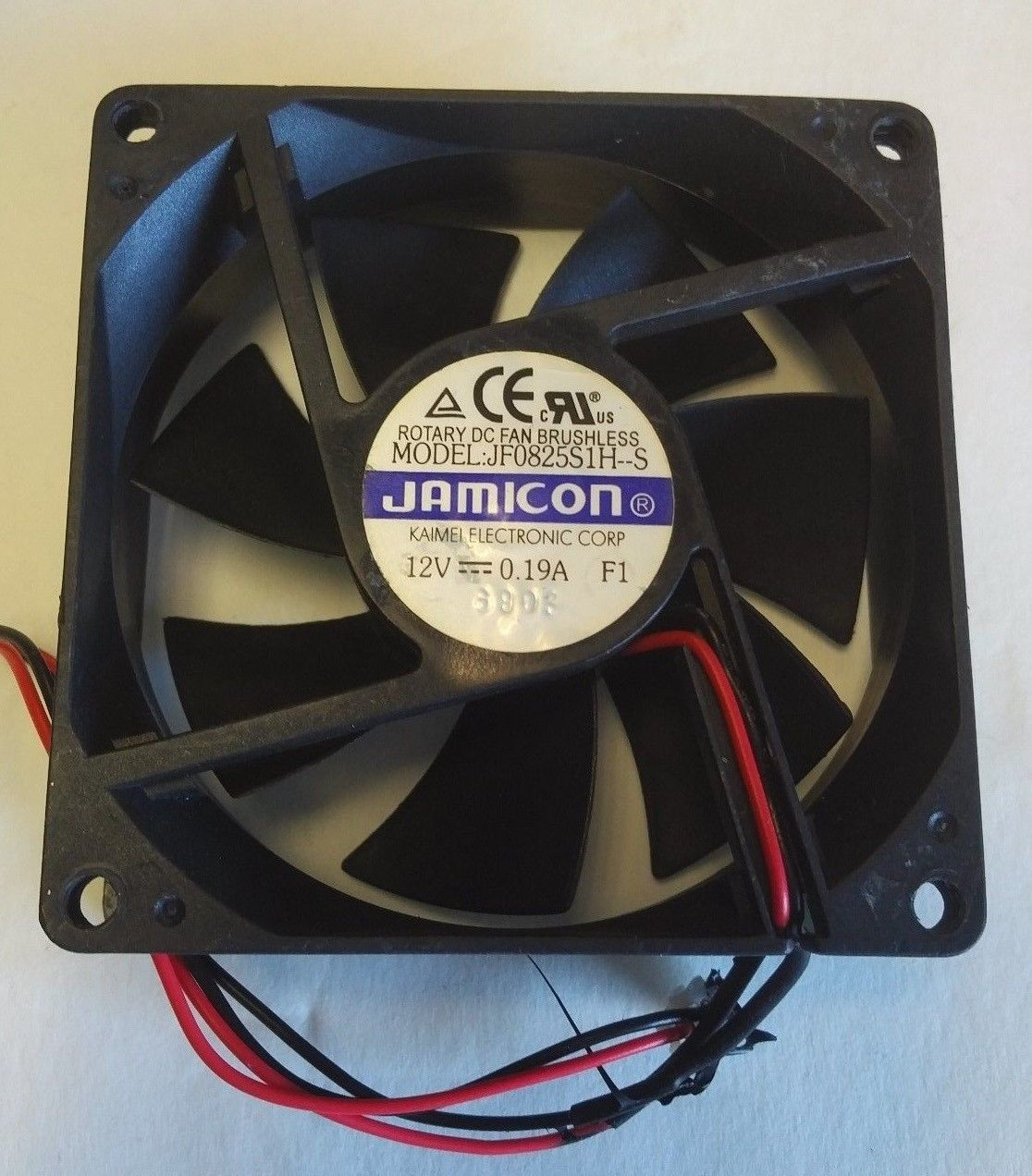 JAMICON JF0825S1H-S  or equivalent 12 volt cooling fan W/ 80x80x25mm 2 pin plug