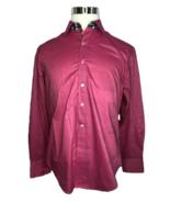 Robert Graham Long Sleeve Shirt Button Down Solid Magenta Color Mens Sz ... - $72.00