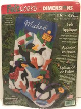 """Dimensions Applique Feltworks 18"""" Xmas Stocking Penguins Snowball Fight 8093 - $54.69"""