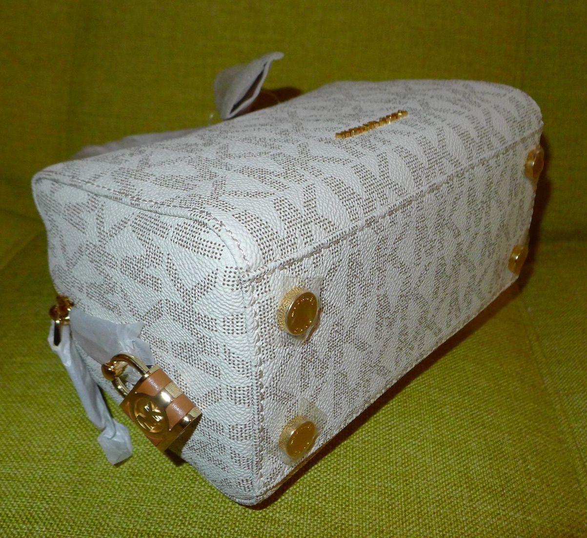 67a4584846c1 Michael Kors Kirby Mini Satchel Boston Crossbody Logo Signature Vanilla