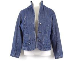 Christopher & Banks Stitch Detail Denim Jacket M Long Sleeve Blazer EUC - $14.98
