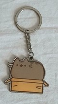ENAMELED FAT CAT IN BOX KEY RING CHAIN, METAL, EPOXY, GREY, NO DEFECTS, ... - $4.94