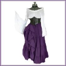 Medieval Maiden High Waist Cincher Flare Sleeve Top Purple Full Celtic G... - $99.95