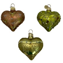 "Dept 56 Blown Glass Christmas Ornaments Lot of 3 Hearts 2.5"" Glitter Det... - $32.66"