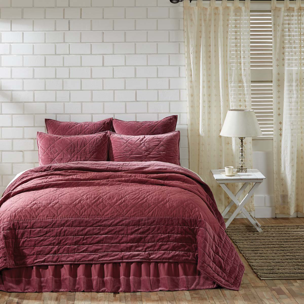 6-pc King - ELEANOR MAUVE Quilt Farmhouse Set - Mulberry Velvet - VHC Brands
