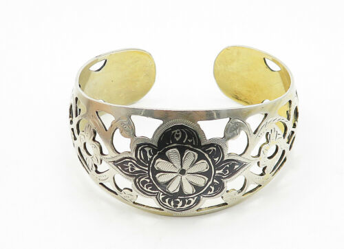 RUSSIA 925 Silver - Vintage Black Enamel Floral Cutout Cuff Bracelet - B6279 image 2