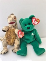 Ty Beanie Babies set of 2 w/ tags Retired Erin Bear, some errors and Toothy dino - $13.09