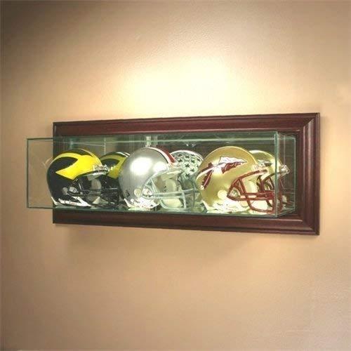 Wall Mounted Glass Football Triple Mini Helmet Display Case with Cherry Wood Mol