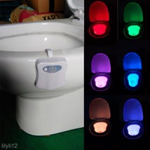 Body Sensing Automatic LED Motion Sensor Night Lamp Toilet Bowl Bathroom... - $3.32
