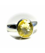 Natural Citrine Silver Ring 7 Carat November Gemstone Size K,L,M,N,O,P,Q... - $38.59