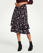 Ann Taylor Romantic Flower Flounce Skirt, 100% Polyester, Black, Size 12... - $89.00
