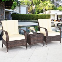 3 Pcs Outdoor Table Set Rattan Patio Garden Furniture Set 2 Seat Coffee ... - $270.31