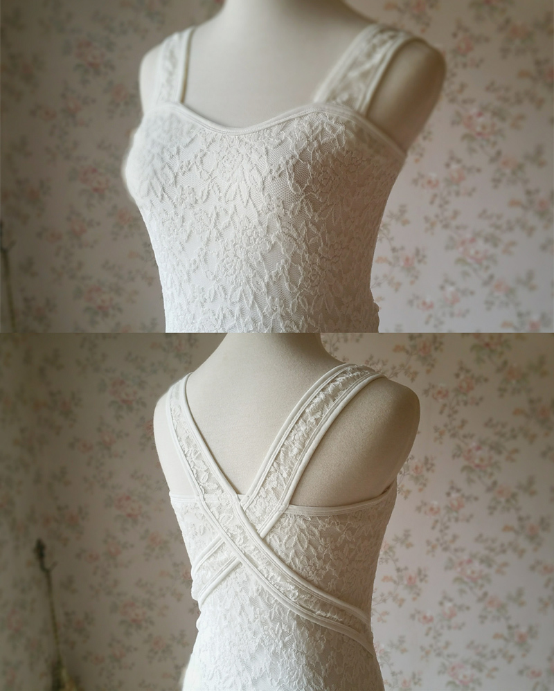 Ivory White Slim Stretchy Lace Tank Top Wedding Bridesmaid Lace Tank Top