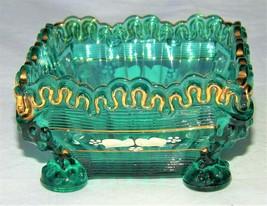 1898-1903 Northwood Alaska Pattern Green Glass Berry Bowl w/ Enamel & Gilt EAPG - $399.99
