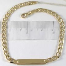 Bracciale In Oro Giallo 750 18K, Grumetta E Piastra Per Incisione, 21 Cm - $361.20
