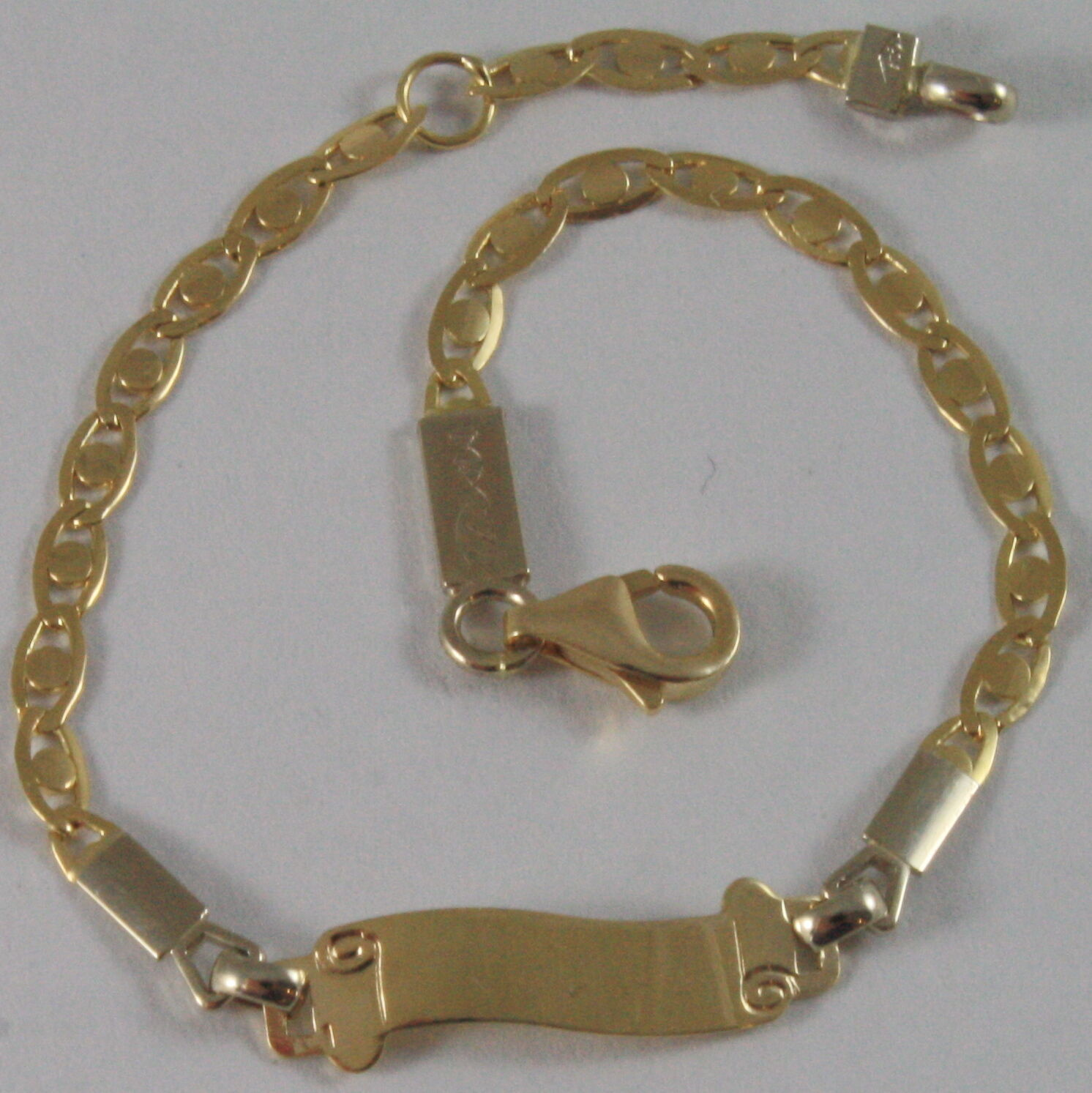 SOLID 18K YELLOW WHITE GOLD KIDS BRACELET SCROLL PLATE ENGRAVABLE, MADE IN ITALY