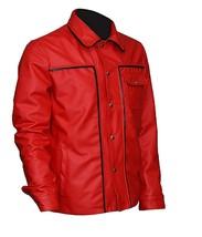 Men Elvis Presely King of Rock & Roll Rockstar Red Leather Jacket image 2