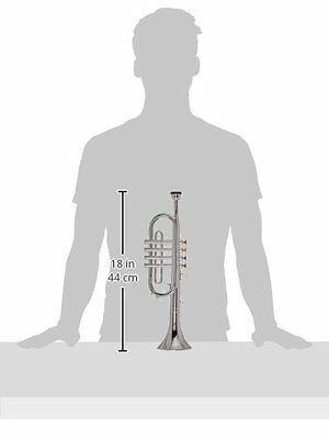 2 Musical Wind Instruments Kids Metallic Silver Saxophone Trumpet Horn BRANDNEW