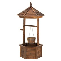 Modern Planter, Wishing Well Decorative Garden Rustic Standing Outdoor P... - $206.69