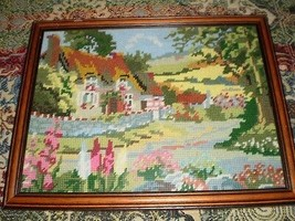 Hand Crafted Tapestry Framed Picture Country Cottage Gardens Flowers  - $31.98