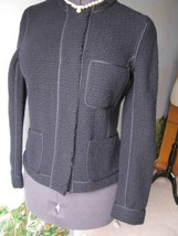 Vince Knit Dark Blue Fitted Wool Long Sleeve Jacket SZ 10 NWT MSRP $395 - $128.69