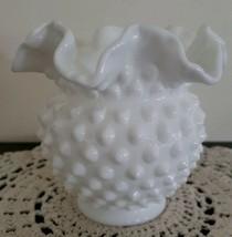 "Vintage ~  White Milk Glass ~ Hobnail Vase ~ Double Crimped 4.75"" Rounde... - $23.76"