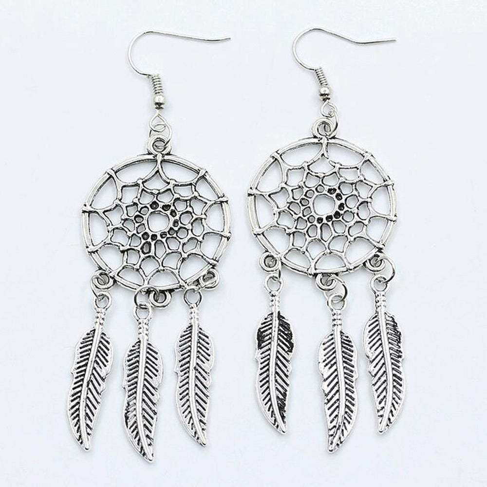 FAMSHIN 2016 New fashion jewelry vintage silver plated Dream catcher earring gif