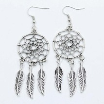 FAMSHIN 2016 New fashion jewelry vintage silver plated Dream catcher ear... - $20.00