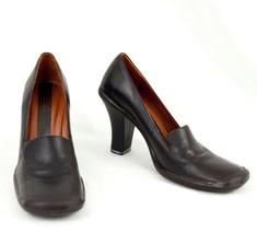 BCBG Leather Shoes 5.5 M  Brown Slip On Heels Maxazria Made Brazil 35.5 EU - $30.95