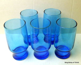 Blue Drinking Glass 1960's Tumbler Individual Drinkware - $8.86