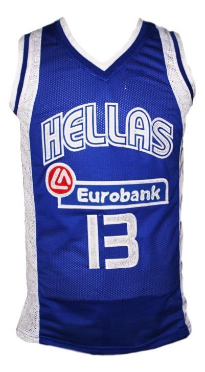Dimitris diamantidis  13 team greece custom basketball jersey blue   1
