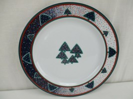 "4 Dansk WINTERFEST Salad Dessert Plates 9"" Porcelain Christmas Tree Holi... - $47.49"