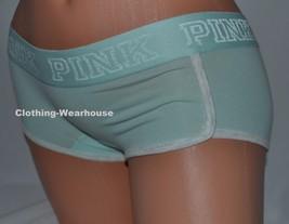 Victoria's Secret PINK Logo Light Blue Heather Boyshort Panty Panties XS NWT - $9.99