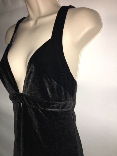 Express Dress Womens Size 4 Black Velour Sexy Plunge NWD image 4