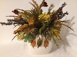Fall Autumn Silk Flower Arrangement in Ceramic Vase Thanksgiving Centerp... - £8.98 GBP