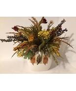 Fall Autumn Silk Flower Arrangement in Ceramic Vase Thanksgiving Centerp... - $12.36