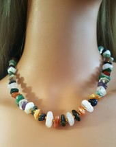 """Vintage Natural Stone Beaded Necklace W Gold Beads 18"""" - $24.50"""