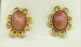 Goldstone Gold Tone Flower Clip Earrings Vintage - $24.74