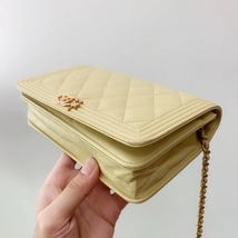 AUTH CHANEL BOY WOC Yellow Lambskin Wallet on Chain WOC Bag Ghw image 6
