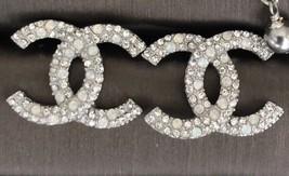 AUTHENTIC CHANEL CRYSTAL LARGE CC LOGO RHINESTONE EARRINGS SILVER image 2