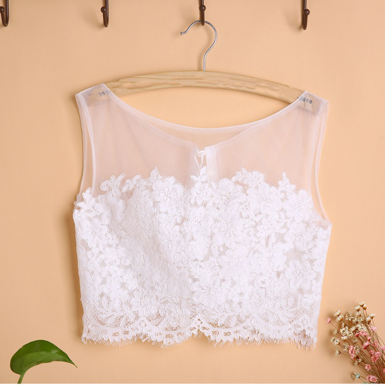 White Sleeveless Lace Crop Top Wedding Bridesmaid Lace Tops Custom Wedding Tops