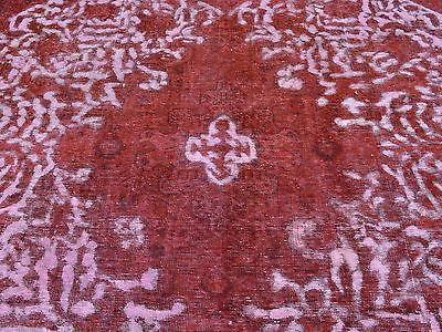 8'x11' Red Overdyed Persian Tabriz Barjasta Hand Knotted Pure Wool Rug G24963