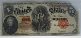 1907 $5 U.S. Note Red Seal Star Note VG Details RARE! C1073 - $270.82
