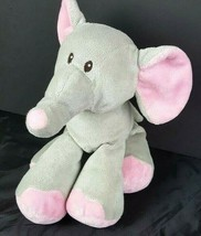 "Toys R Us Baby Plush Elephant Gray Pink Bean Bag 10"" Stuffed Animal 2015  - $26.72"
