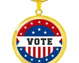 Vote in Election Flag Circle Pendant Necklace Stainless Steel or 18k Gold 18-22""