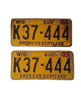 1953 54 Tags WIS Wisconsin license pair plates