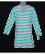 Girls Striped Hooded Coverup Dress - Mint White XL Miken Mermaids - $8.49