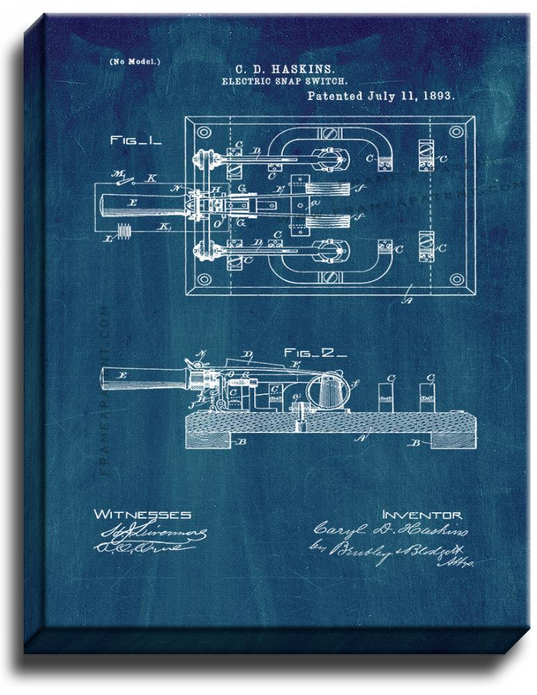 Primary image for Electric Snap Switch Patent Print Midnight Blue on Canvas