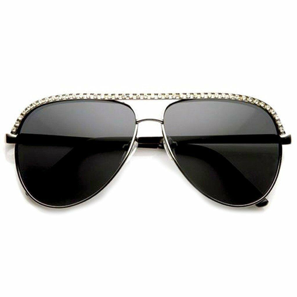 Diseñador Bling Vintage Pedrería Semi Rim Moda Mujer Gafas de Sol